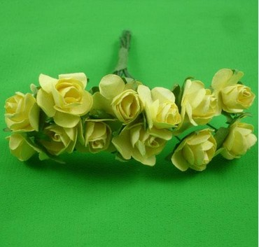 Yellow 1.5cm scrapbooking paper rose flowers