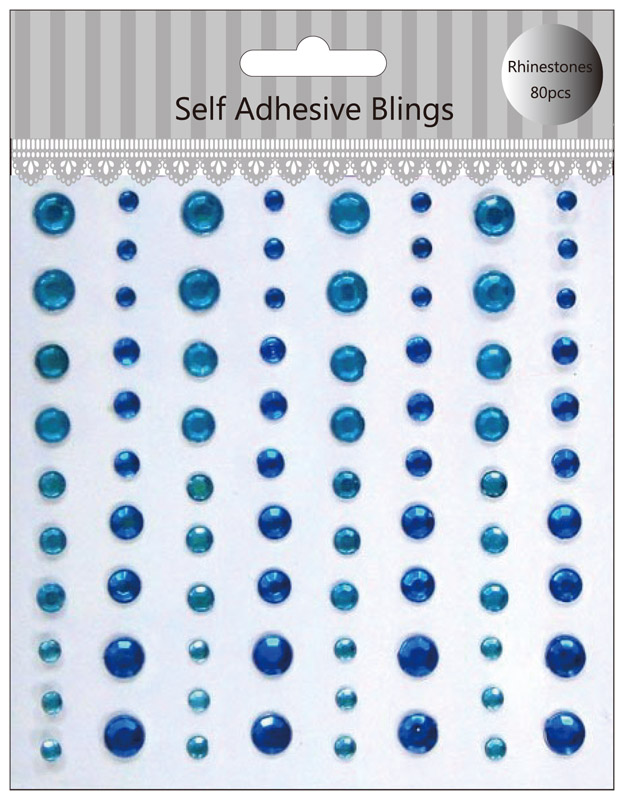 Scrapbook blue self adhesive gems sticker
