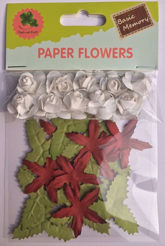 Leaf set scrapbook paper flowers-rose flowers-cardmaking embellishments