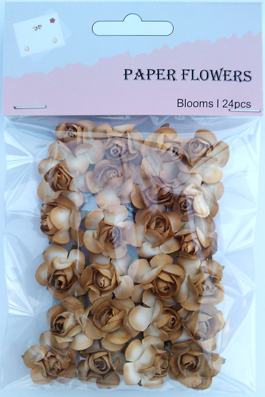 Brown scrapbook paper rose blooms