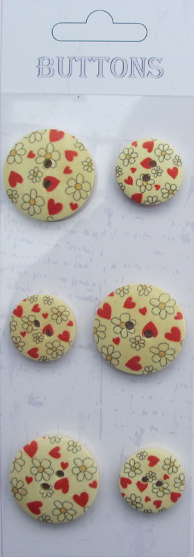 6pcs mixed printing wooden buttons wholesale