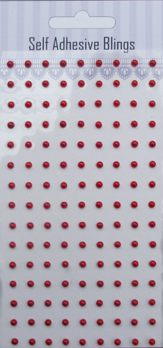 Red 3mm 135pcs adhesive pearls sticker-slef adhesive pearls