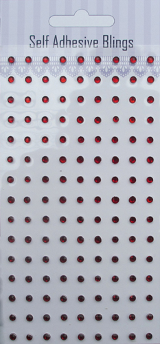 135pcs 3mm Red self adhesive crystal sticker