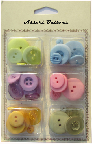 Pastel assort plastic buttons mixed collection