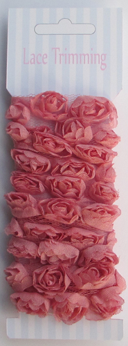 Dark Pink Double row chiffon rose flower lace trim