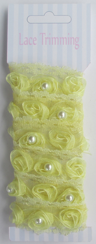 Yellow Double row pearl beads decorative rose lace trim fabric