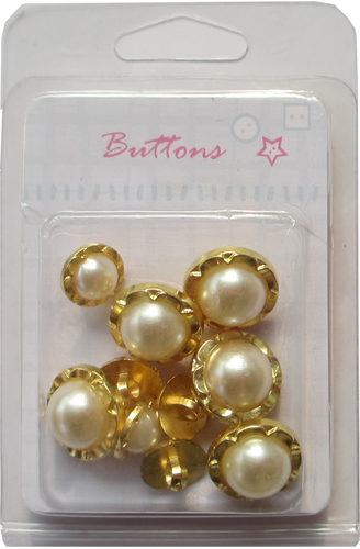 China wholesale Plating gold mixed shank buttons with pearls
