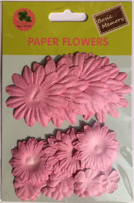 Pink collection scrapbook paper flowers-paper petals-embellishments