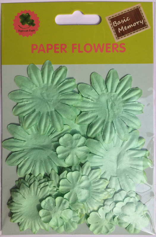 Light green collection scrapbook paper flowers-paper petals-embellishments