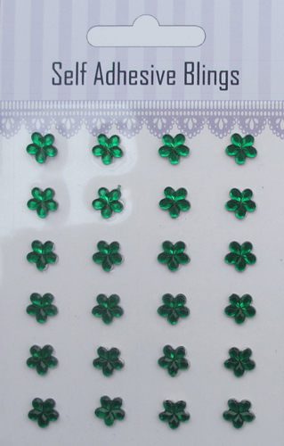 24pcs Christmas green flower self adhesive rhinestones sticker