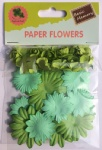 Green set scrapbook paper flowers-rose flowers-cardmaking embellishments