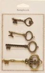 Antique copper metal keys charms