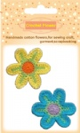 Bright cotton crochet flowers for handicraft