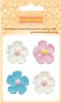 Decorative handmade cotton crochet flowers for scrapbooking