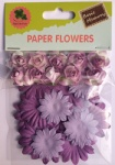 Purple set scrapbook paper flowers-rose flowers-cardmaking embellishments
