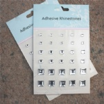 30pcs silver square mixed gems sticker